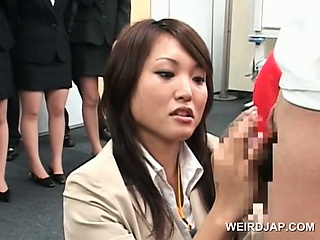 Teen japanese girl identically dick rubbing skills at sex colloquium