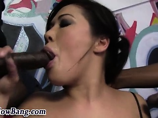 Asian slut sucks big black dicks
