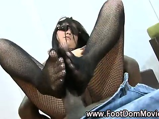 Asian stockings feet fuck black pole