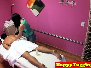 Asian masseuse gets hairy pussy fucked
