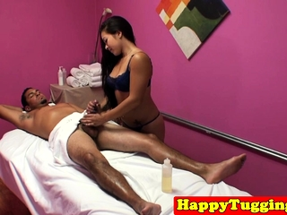 Asian masseuse dickriding and besmirched customer