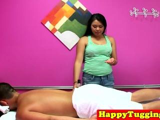 Adorable asian masseuse blowing customers horseshit