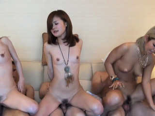 Three Jav Amateurs Fuck In A Row Greater than The Sofa Uncensored