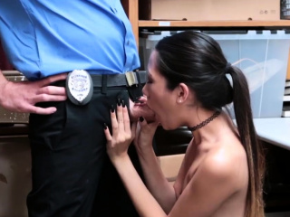 Blonde police threesome and with women's knickers caught Habitual