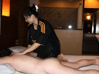 Fat butt Asian amateur oily massage with an increment of fucked on top
