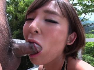 Japanese brunette, Runa Hagawa sucks dick, uncensored
