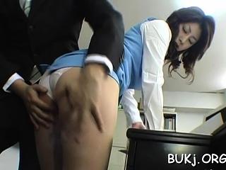 Astonishing busty eastern beauty Mariko Shiraishi fucked man