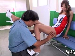 Amazing nipponese Karen Kogure gets left side gash drilled
