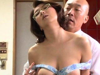 Japanese honey gets her large tits parts and drilled