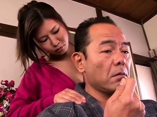 Subtitled Japanese milf oil palpate parlor foreplay