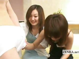 Subtitled CFNM Japanese hostesses penis discovery