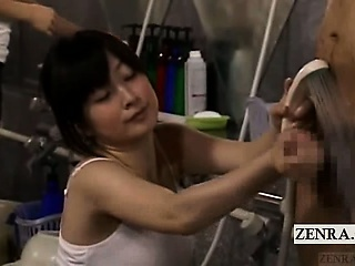 Subtitled CFNM Japanese bath unpremeditated handjob cumshot